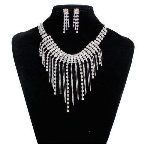 New Fringed Rhinestone Necklace and Earrings - SILVER  Mobile