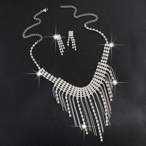Trendy Fringed Rhinestone Necklace and Earrings - SILVER  Mobile