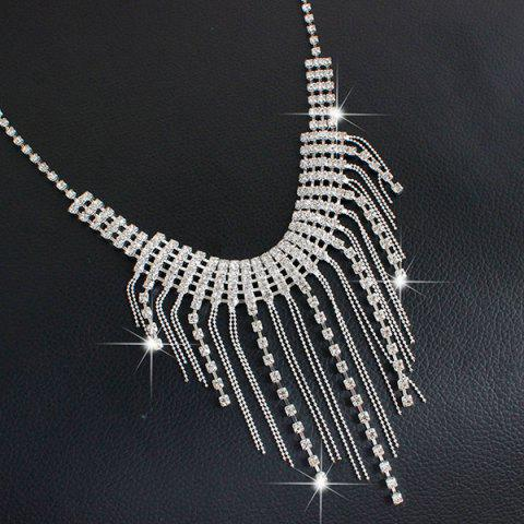 Shop Fringed Rhinestone Necklace and Earrings - SILVER  Mobile