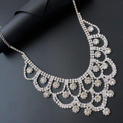 Hot Rhinestone Floral Hollow Out Jewelry Set - SILVER  Mobile