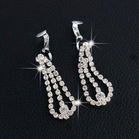 Online Rhinestone Floral Hollow Out Jewelry Set - SILVER  Mobile