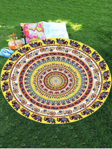 Cheap Thailand Elephant Mandala Chiffon Round Beach Throw