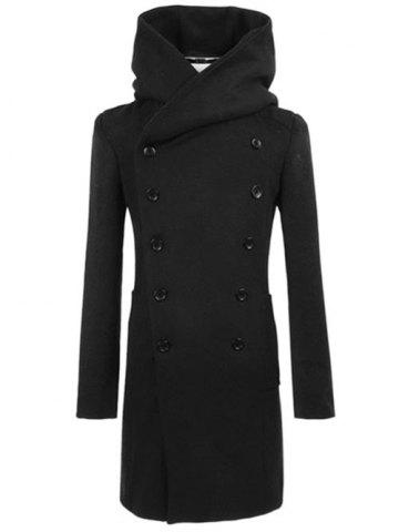 Outfit Longline Double Breasted Hooded Woolen Coat