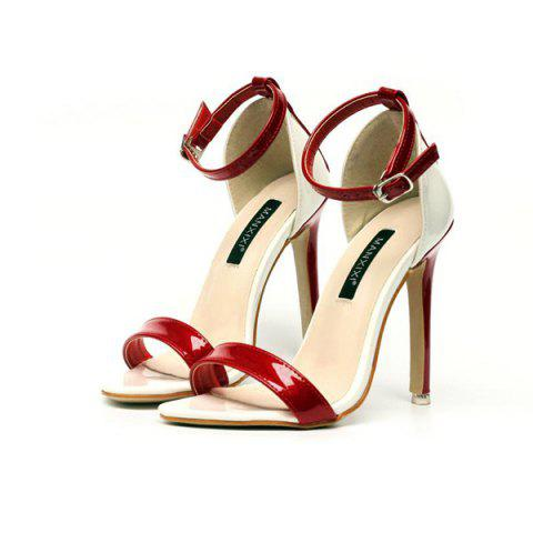 Chic Ankle Strap Patent Leather Sandals - 37 RED Mobile