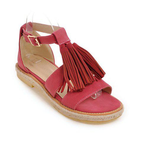 Fashion Tassels Suede Espadrilles Sandals - 37 WATERMELON RED Mobile