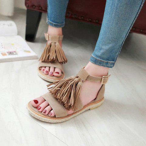 Affordable Tassels Suede Espadrilles Sandals - 37 APRICOT Mobile