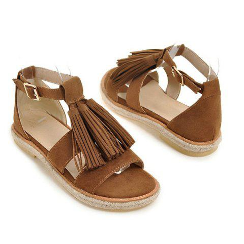 Chic Tassels Suede Espadrilles Sandals - BROWN 38 Mobile
