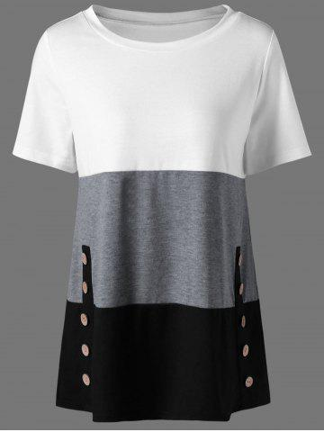 Button Decorated T-Shirt - GRAY L