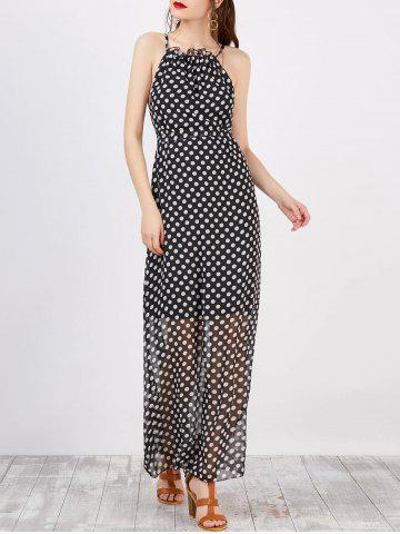 Latest Spaghetti Strap Polka Dot Maxi Dress