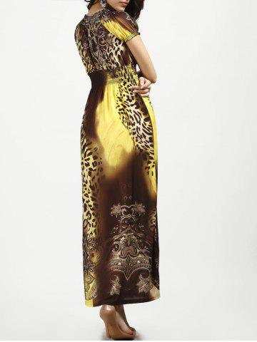 Outfit V Neck Long Leopard Printed Bohemian Maxi Dress - YELLOW XL Mobile