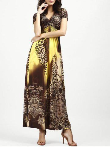 Trendy V Neck Long Leopard Printed Bohemian Maxi Dress YELLOW XL