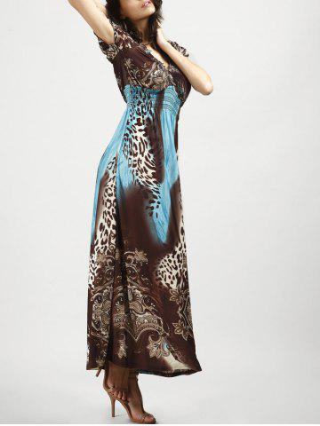 Outfits V Neck Long Leopard Printed Bohemian Maxi Dress - BLUE AND BROWN XL Mobile