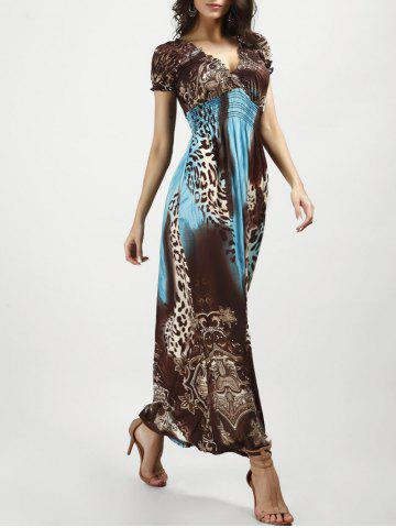 Discount V Neck Long Leopard Printed Bohemian Maxi Dress - BLUE AND BROWN XL Mobile