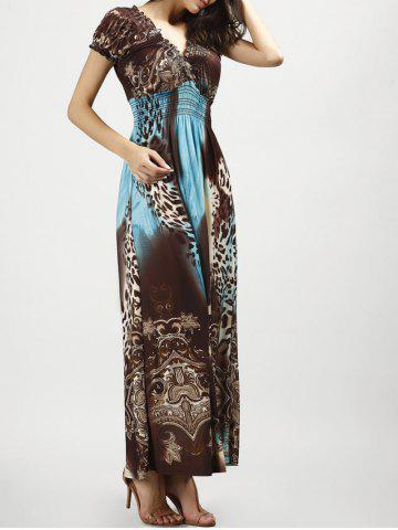 Chic V Neck Long Leopard Printed Bohemian Maxi Dress - BLUE AND BROWN XL Mobile