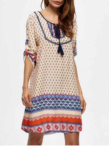 Outfits Lace Up Tassel Ornate Print Dress - M MULTI Mobile