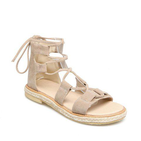 Espadrilles Flat Gladiator Lace Up Sandals - GLITTER CREAMY WHITE 39