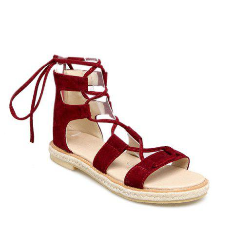 Discount Espadrilles Flat Gladiator Lace Up Sandals