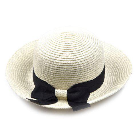 Outfit Flanging Bowknot Band Bowler Straw Hat OFF-WHITE