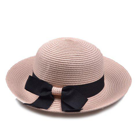 Outfits Flanging Bowknot Band Bowler Straw Hat