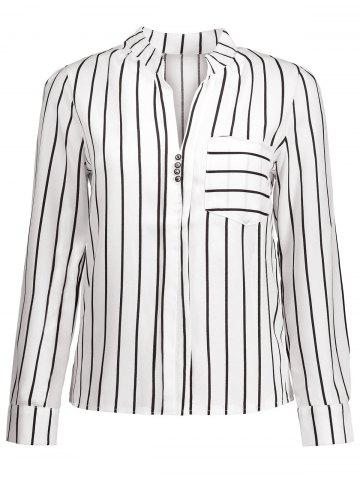 New Striped Button Design Blouse with Pocket