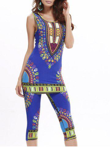 Best African Print Longline Tank Top and Cropped Pants BLUE ONE SIZE