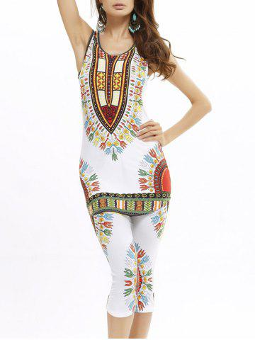 African Print Longline Tank Top and Cropped Pants - Red With White - One Size