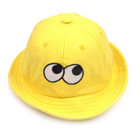 Bucket Sun Hat with Cartoon Eyes Embroidery - Yellow - One Size