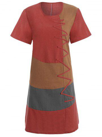 Latest Plus Size Colorblock Embroidered Linen T-Shirt Dress RED 5XL