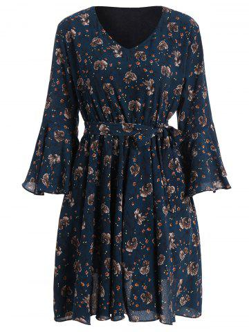 Plus Size Bell Sleeve Floral Flare Dress - BLUE 3XL