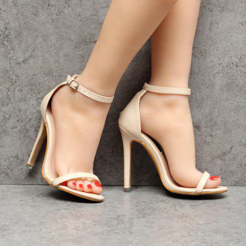 Hot Ankle Strap PU Leather Sandals - 37 APRICOT Mobile