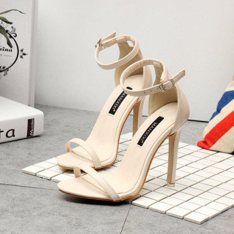 Chic Ankle Strap PU Leather Sandals - 39 APRICOT Mobile
