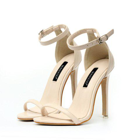 Shop Ankle Strap PU Leather Sandals - 39 APRICOT Mobile