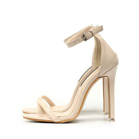 Hot Ankle Strap PU Leather Sandals - 39 APRICOT Mobile
