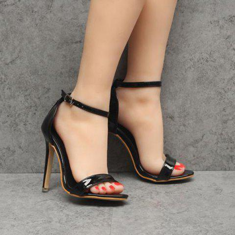 Fashion Ankle Strap Patent Leather Sandals - 39 BLACK Mobile