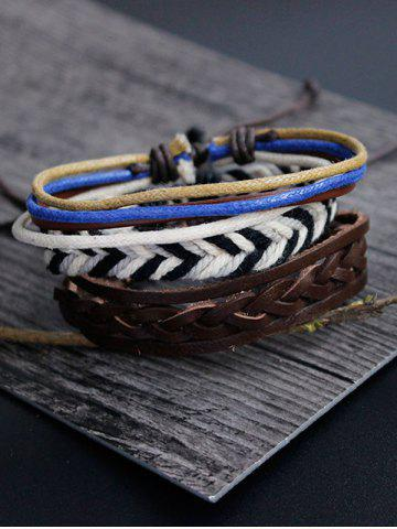 Affordable Rope Woven Faux Leather Bracelet Set MULTICOLOR