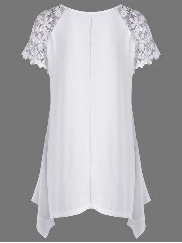 Shop Plus Size Lace Trim Cutwork Asymmetrical Long T-Shirt - 2XL WHITE Mobile