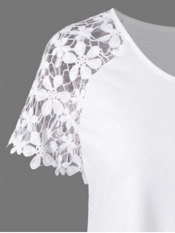 Best Plus Size Lace Trim Cutwork Asymmetrical Long T-Shirt - 2XL WHITE Mobile
