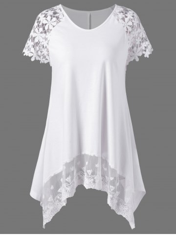 Store Plus Size Lace Trim Cutwork Asymmetrical Long T-Shirt - 2XL WHITE Mobile