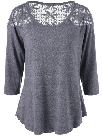 Best Plus Size Lace Crochet Panel T-Shirt GRAY XL