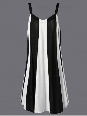 Trendy Swing Striped Casual Daytime A Line Dress - L WHITE Mobile