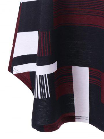 Cheap Geometric Plus Size Extra Long Tank Top - 2XL BLACK AND WHITE AND RED Mobile