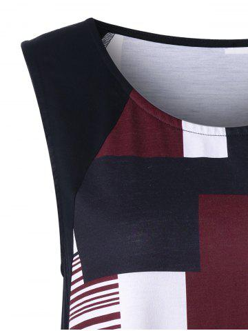 Best Geometric Plus Size Extra Long Tank Top - 2XL BLACK AND WHITE AND RED Mobile