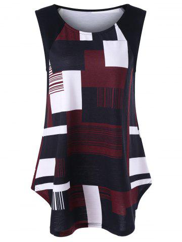 Affordable Geometric Plus Size Extra Long Tank Top - 2XL BLACK AND WHITE AND RED Mobile