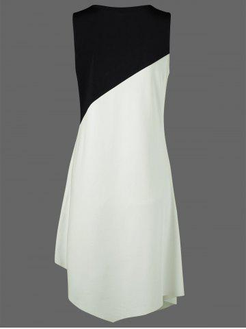 Store Color Block Swing Sleeveless Casual Dress Boutique - XL WHITE AND BLACK Mobile