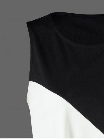 Shop Color Block Swing Sleeveless Casual Dress Boutique - XL WHITE AND BLACK Mobile