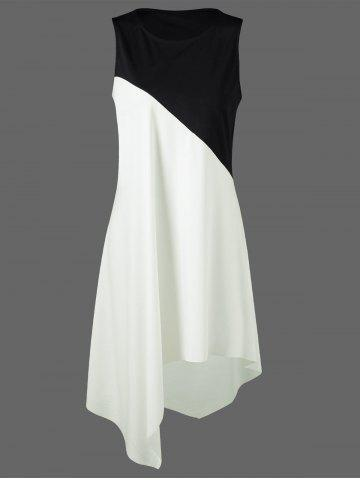 Fancy Color Block Swing Sleeveless Casual Dress Boutique - XL WHITE AND BLACK Mobile