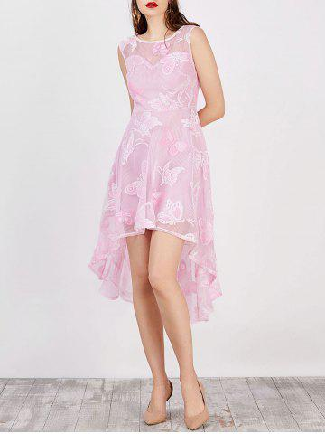 Store High Low Flowy Wedding Party Lace Dress - 2XL PINK Mobile