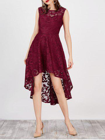 Lace High Low Swing Evening Party Dress - Wine Red - L