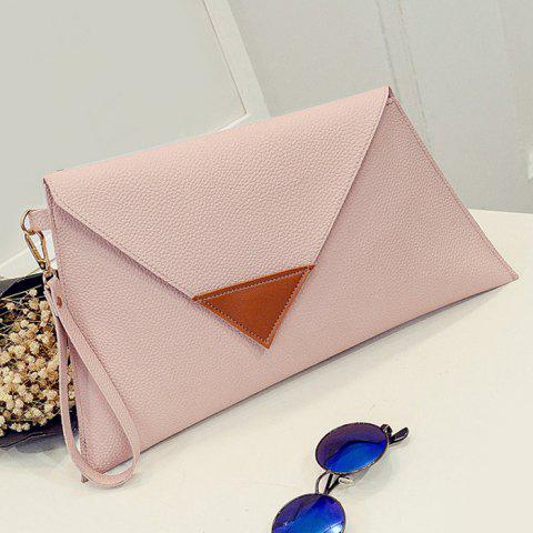 Chic Asymmetrical Clutch Bag with Wristlet - HORIZONTAL PINK Mobile