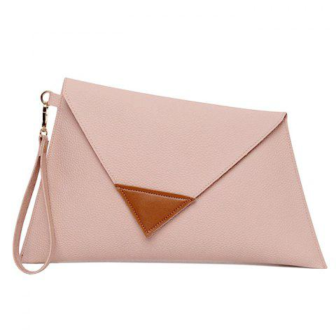 Trendy Asymmetrical Clutch Bag with Wristlet PINK HORIZONTAL